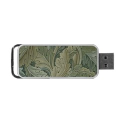 Vintage Background Green Leaves Portable Usb Flash (two Sides)