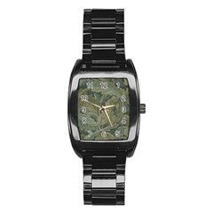 Vintage Background Green Leaves Stainless Steel Barrel Watch by Nexatart
