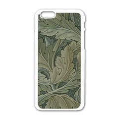 Vintage Background Green Leaves Apple Iphone 6/6s White Enamel Case by Nexatart