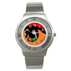 Eyes Makeup Human Drawing Color Stainless Steel Watch