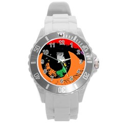 Eyes Makeup Human Drawing Color Round Plastic Sport Watch (l)