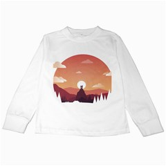 Design Art Hill Hut Landscape Kids Long Sleeve T-shirts