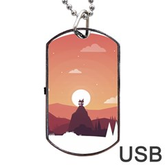 Design Art Hill Hut Landscape Dog Tag Usb Flash (two Sides)