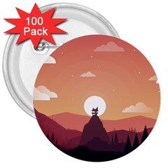Design Art Hill Hut Landscape 3  Buttons (100 Pack)  by Nexatart