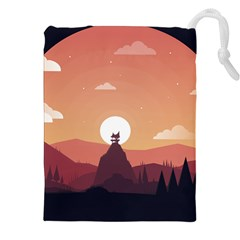 Design Art Hill Hut Landscape Drawstring Pouches (xxl) by Nexatart