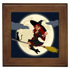 Witch Witchcraft Broomstick Broom Framed Tiles by Nexatart