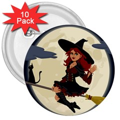 Witch Witchcraft Broomstick Broom 3  Buttons (10 Pack)  by Nexatart