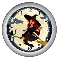 Witch Witchcraft Broomstick Broom Wall Clocks (silver)