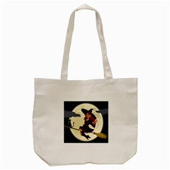 Witch Witchcraft Broomstick Broom Tote Bag (cream)