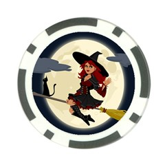 Witch Witchcraft Broomstick Broom Poker Chip Card Guard (10 Pack)