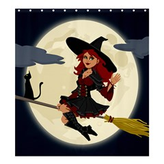 Witch Witchcraft Broomstick Broom Shower Curtain 66  X 72  (large)  by Nexatart