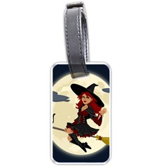 Witch Witchcraft Broomstick Broom Luggage Tags (two Sides) by Nexatart