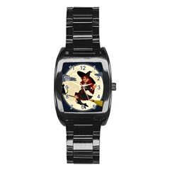 Witch Witchcraft Broomstick Broom Stainless Steel Barrel Watch by Nexatart