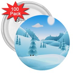 Landscape Winter Ice Cold Xmas 3  Buttons (100 Pack)