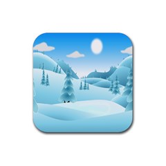 Landscape Winter Ice Cold Xmas Rubber Coaster (square)  by Nexatart