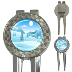Landscape Winter Ice Cold Xmas 3 In 1 Golf Divots by Nexatart