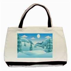 Landscape Winter Ice Cold Xmas Basic Tote Bag