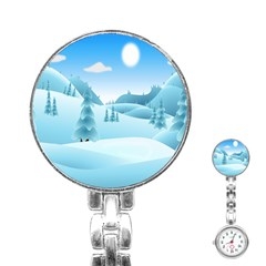 Landscape Winter Ice Cold Xmas Stainless Steel Nurses Watch