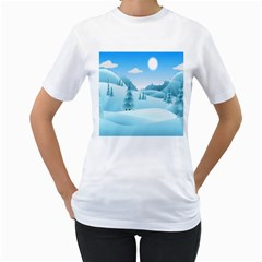 Landscape Winter Ice Cold Xmas Women s T Shirt (white)