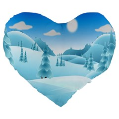 Landscape Winter Ice Cold Xmas Large 19  Premium Flano Heart Shape Cushions by Nexatart