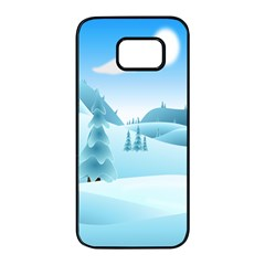 Landscape Winter Ice Cold Xmas Samsung Galaxy S7 Edge Black Seamless Case