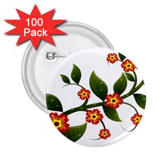 Flower Branch Nature Leaves Plant 2 25  Buttons (100 Pack)