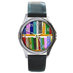Shelf Books Library Reading Round Metal Watch