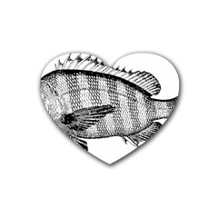 Animal Fish Ocean Sea Rubber Coaster (heart)