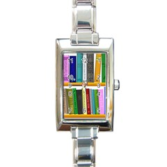 Shelf Books Library Reading Rectangle Italian Charm Watch