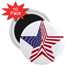 A Star With An American Flag Pattern 2 25  Magnets (10 Pack)