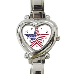 A Star With An American Flag Pattern Heart Italian Charm Watch