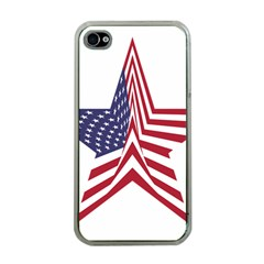 A Star With An American Flag Pattern Apple Iphone 4 Case (clear)