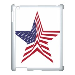 A Star With An American Flag Pattern Apple Ipad 3/4 Case (white)
