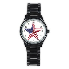 A Star With An American Flag Pattern Stainless Steel Round Watch