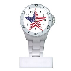 A Star With An American Flag Pattern Plastic Nurses Watch