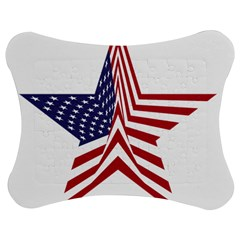 A Star With An American Flag Pattern Jigsaw Puzzle Photo Stand (bow)