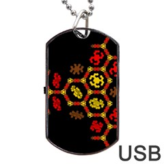 Algorithmic Drawings Dog Tag Usb Flash (one Side) by Nexatart