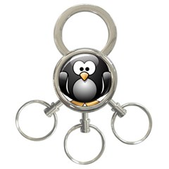 Penguin Birds Aquatic Flightless 3 Ring Key Chains