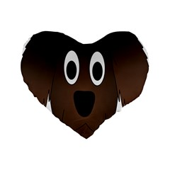 Dog Pup Animal Canine Brown Pet Standard 16  Premium Heart Shape Cushions