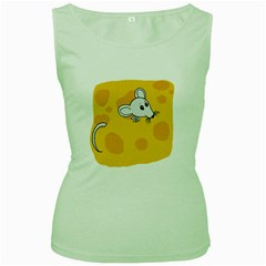 Rat Mouse Cheese Animal Mammal Women s Green Tank Top