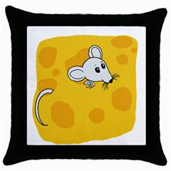 Rat Mouse Cheese Animal Mammal Throw Pillow Case (black) by Nexatart