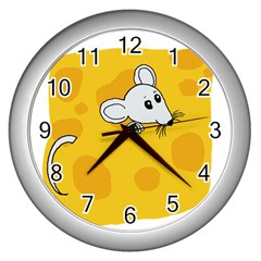 Rat Mouse Cheese Animal Mammal Wall Clocks (silver)  by Nexatart