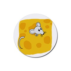 Rat Mouse Cheese Animal Mammal Rubber Round Coaster (4 Pack)