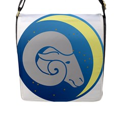 Ram Zodiac Sign Zodiac Moon Star Flap Messenger Bag (l)