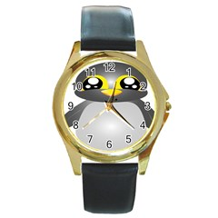 Cute Penguin Animal Round Gold Metal Watch