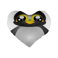 Cute Penguin Animal Standard 16  Premium Flano Heart Shape Cushions by Nexatart