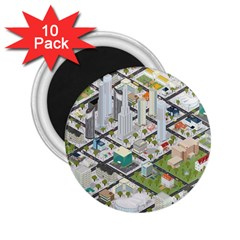 Simple Map Of The City 2 25  Magnets (10 Pack)  by Nexatart