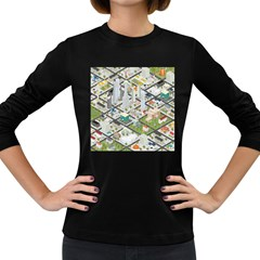 Simple Map Of The City Women s Long Sleeve Dark T Shirts
