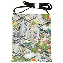Simple Map Of The City Shoulder Sling Bags by Nexatart