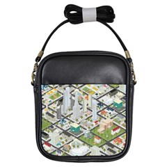 Simple Map Of The City Girls Sling Bags by Nexatart